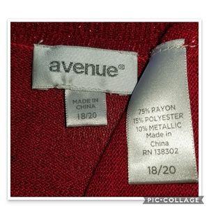 Avenue Sweaters - Cropped Red Metallic Shrug Sz 18/20